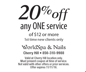 20% off any ONE service of $12 or more1st time new clients only. Valid at Cherry Hill location only. Must present coupon at time of service.Not valid with other offers or prior services. Offer expires 11/11/16.