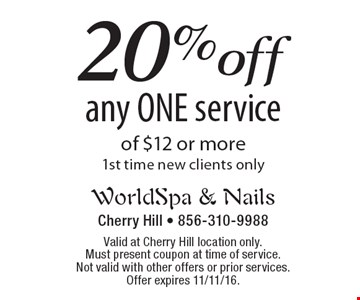 20% off any ONE service of $12 or more. 1st time new clients only. Valid at Cherry Hill location only. Must present coupon at time of service. Not valid with other offers or prior services. Offer expires 11/11/16.