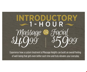 Introductory 1-hour massage ($49.99) or facial ($59.99)