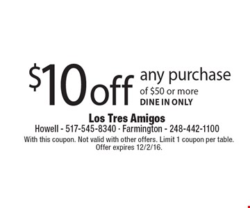 $10 off any purchase of $50 or more. Dine in only. With this coupon. Not valid with other offers. Limit 1 coupon per table. Offer expires 12/2/16.
