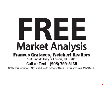 FREE Market Analysis. With this coupon. Not valid with other offers. Offer expires 12-31-16.