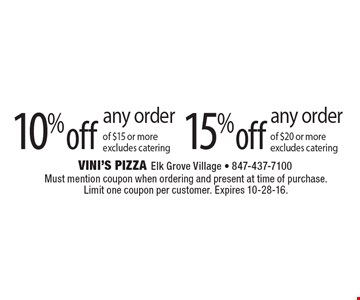 15% off any order of $20 or more, excludes catering. 10% off any order of $15 or more, excludes catering. Must mention coupon when ordering and present at time of purchase. Limit one coupon per customer. Expires 10-28-16.