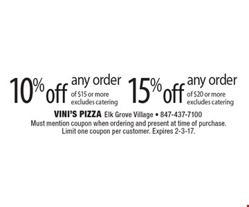 15% off any order of $20 or more. Excludes catering. 10% off any order of $15 or more. Excludes catering. Must mention coupon when ordering and present at time of purchase. Limit one coupon per customer. Expires 2-3-17.
