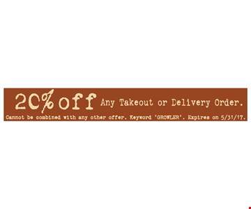 20% OFF take-out or delivery order.