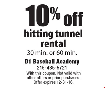 10% off hitting tunnel rental 30 min. or 60 min.. With this coupon. Not valid with other offers or prior purchases. Offer expires 12-31-16.