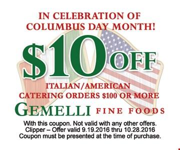 $10 off italian american catering order