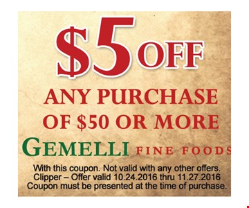 $5 off $50 or more