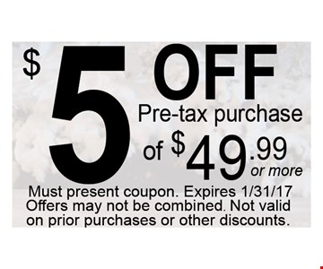 $5 Off Pre Tax Purchase Of $49.99 Or More