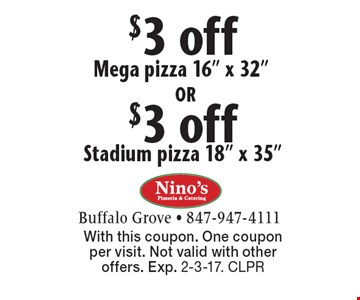 $3 off Stadium pizza 18