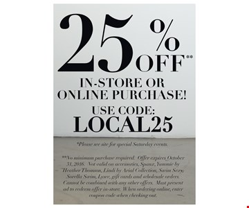 25% off in-store or online purchase