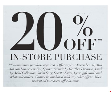 20% Off In-Store Purchase