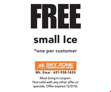 FREE small Ice *one per customer. Must bring in coupon.Not valid with any other offer or specials. Offer expires 12/2/16.