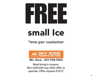 FREE small Ice *one per customer. Must bring in coupon. Not valid with any other offer or specials. Offer expires 2/3/17.