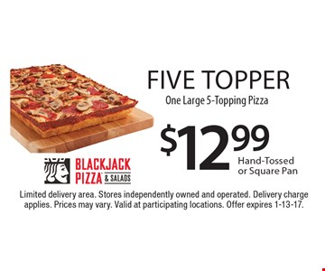 Five topper - $12.99 One Large 5-Topping Pizza Hand-Tossed or Square Pan. Limited delivery area. Stores independently owned and operated. Delivery charge applies. Prices may vary. Valid at participating locations. Offer expires 1-13-17.