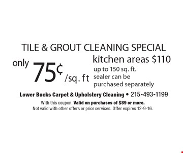 TILE & GROUT CLEANING SPECIAL. Only 75¢/sq. ft kitchen areas $110. up to 150 sq. ft. sealer can be purchased separately. With this coupon. Valid on purchases of $89 or more. Not valid with other offers or prior services. Offer expires 12-9-16.