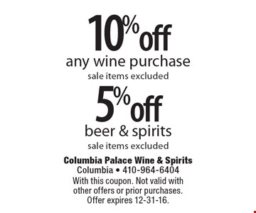 10% off any wine purchase OR 5% off beer & spirits. Sale items excluded. With this coupon. Not valid with other offers or prior purchases. Offer expires 12-31-16.