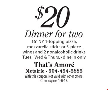 $20 Dinner for two 16