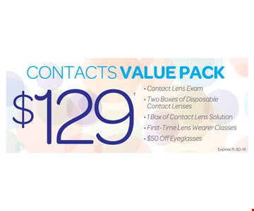 Contacts value pack for $129.