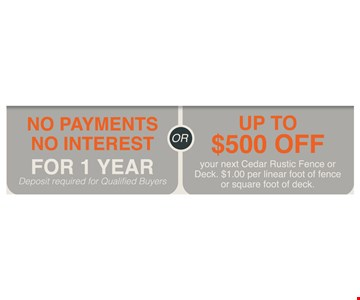 No payments no interest for 1 year OR up to $500 off
