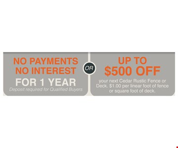 no payments on interest  or up to $500 off