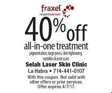 40% off all-in-one treatment. Pigmentation, large pores, skin tightening, wrinkles & acne scars. With this coupon. Not valid with other offers or prior services. Offer expires 4/7/17.
