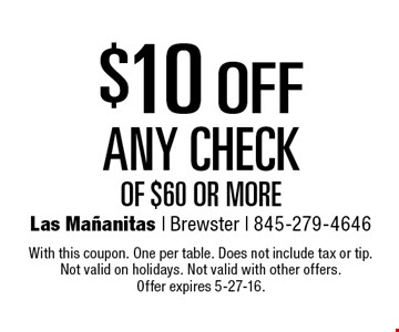 $10 off any check of $60 or more. With this coupon. One per table. Does not include tax or tip. Not valid on holidays. Not valid with other offers. Offer expires 5-27-16.