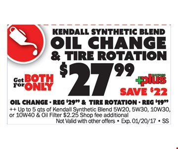 Oil change and tire rotation $27.99