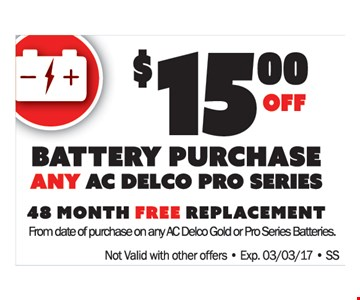 $15 off any battery purchase