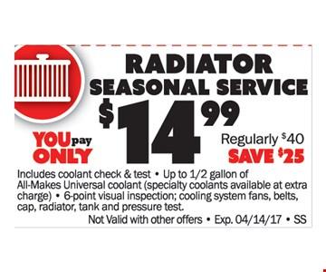 Radiato Sesonal Service $14.99
