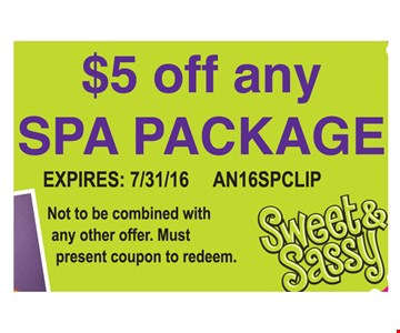 $5 off any spa package