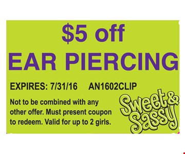 $5 off ear piercing