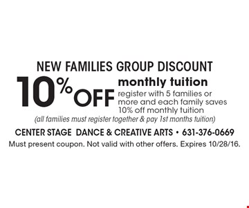 NEW FAMILIES GROUP DISCOUNT! 10% off monthly tuition. Register with 5 families or more and each family saves 10% off monthly tuition (all families must register together & pay 1st months tuition). Must present coupon. Not valid with other offers. Expires 10/28/16.