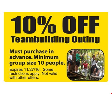 10% Off Teambuilding Outing