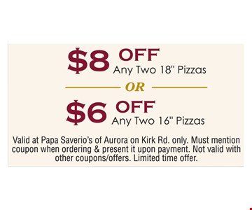 $6 or $8 Off Pizza