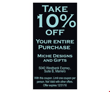 10% off your entire purchase