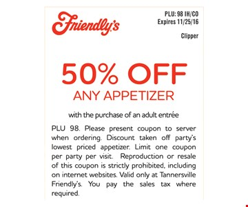 50% off any appetizer.
