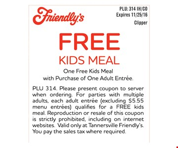 Free kids meal with purchase.