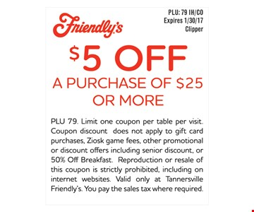 $5 off a purchase of $25 or more