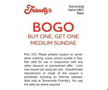 BOGO buy one get one medium sundae