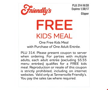 Free Kids Meal with purchase of an adult combo meal