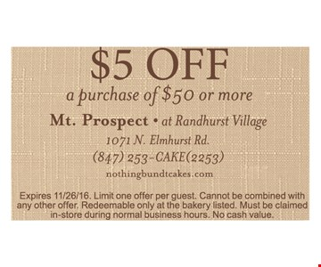 $5 off a purchase of $50 or more