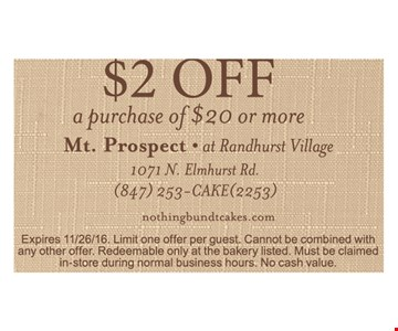 $2 off a purchase of $20 or more