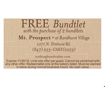 free bundtlet with the purchase of 2 bundtlets