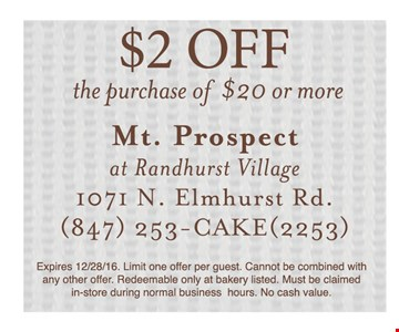 $2 off the purchase of $20 or more