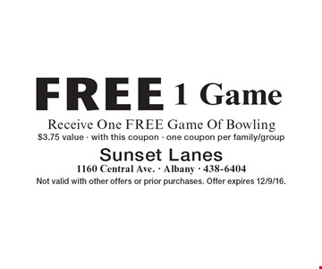 Free 1 Game. Receive One FREE Game Of Bowling, $3.75 value. With this coupon. One coupon per family/group. Not valid with other offers or prior purchases. Offer expires 12/9/16.