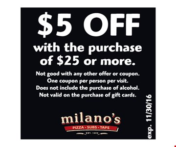 $5 Off With the purchase of $25 or more