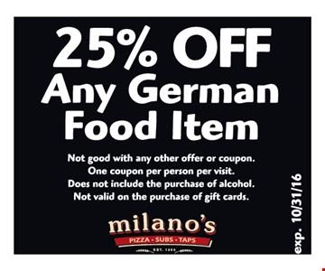 25% Off Any German food item