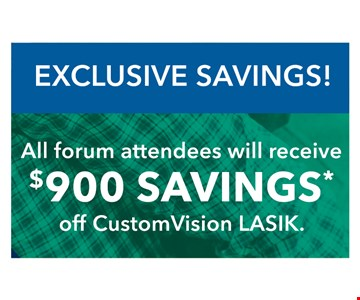 $900 savings off custom vision lasik