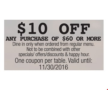 $10 off any purchase of $60 or more