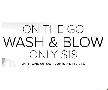On the Go Wash & Blow Only $18